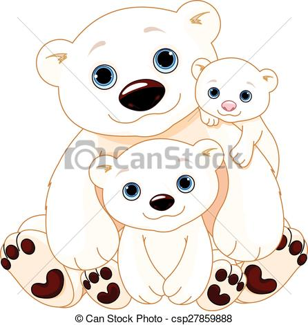 446x470 Big Polar Bear Family. Illustration Of Mommy And Daddy Bears