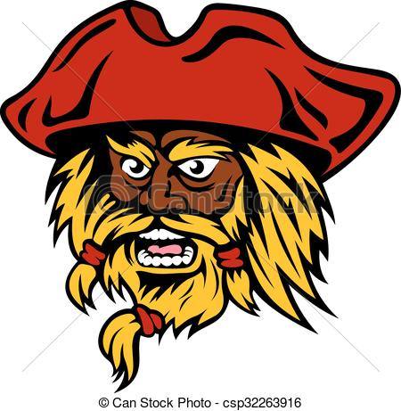 450x461 Cartoon Bearded Pirate Captain In Red Hat. Aggressive Vector