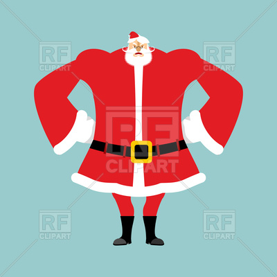 400x400 Angry Santa, Christmas Grandfather With Beard And Mustache Royalty