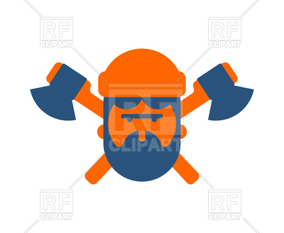400x328 Lumberjack Icon. Woodcutter Sign. Feller With Beard And Axes