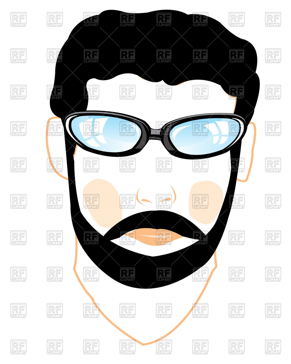 960x1200 Portrait Of Man In Glasses With Beard Royalty Free Vector Clip Art