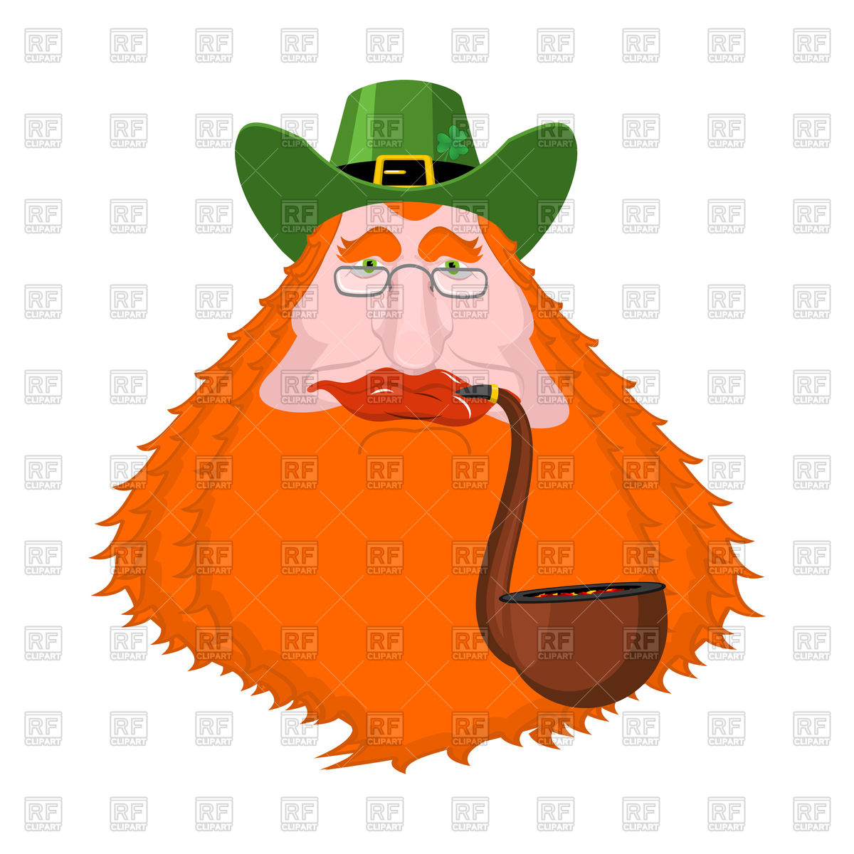 1200x1200 St. Patrick's Day Leprechaun With Red Beard And Pipe Royalty Free