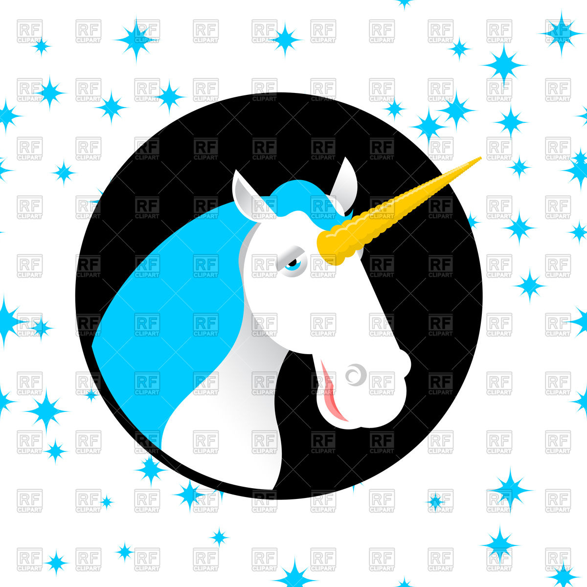 1200x1200 Fun Unicorn, Fabulous Beast With Horn Royalty Free Vector Clip Art