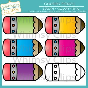 350x350 This Free Clip Art Set Contains 6 Chubby Pencil Images, Which