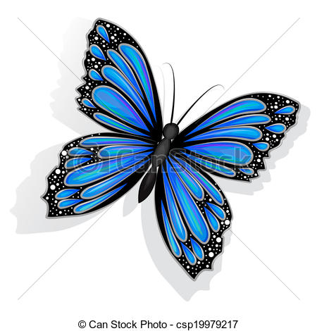 450x470 Beautiful Blue Butterfly Isolated Vector Clip Art