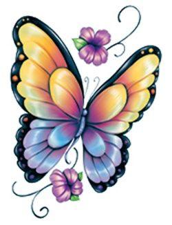 250x326 Butterfly rainbow tattoo design