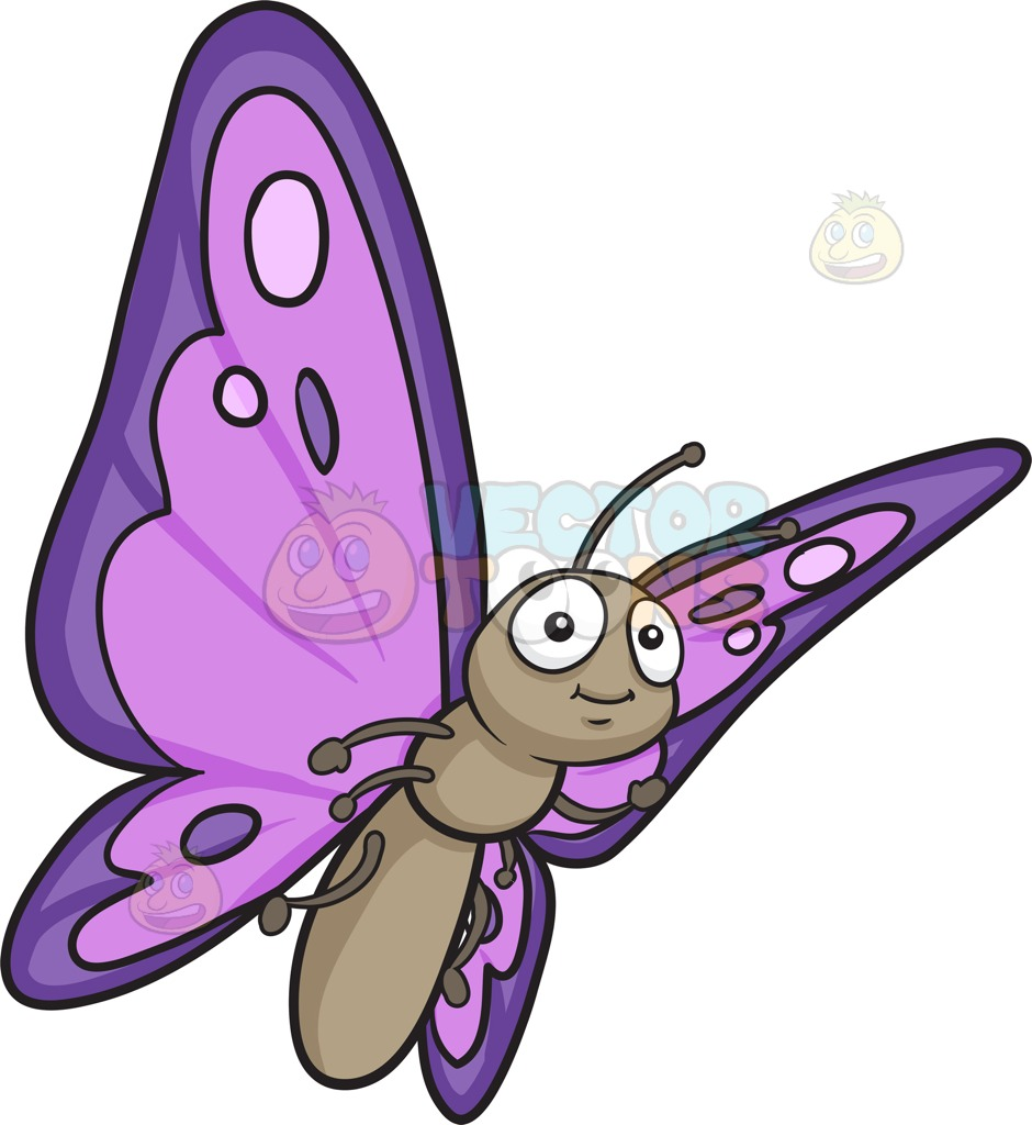 940x1024 A Pretty Butterfly With Violet And Purple Wings Cartoon Clipart