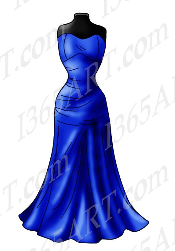 570x814 Beautiful Blue Gown Clipart, Digital Stamp, Hand Drawn, Coloring