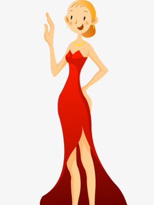 300x400 Beautiful Red Dress, Red Dress, Blond Girl, Cartoon Characters Png