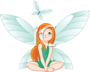 350x279 Picture of a Fairy Sitting Down Watching a Blue Butterfly In a