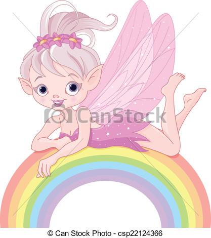 417x470 Pixie fairy on rainbow. Illustration of beautiful pixie clip