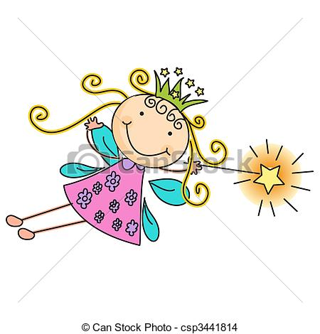 450x470 A beautiful vector illustration of a fairy with crown and