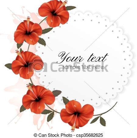 450x454 Holiday Background With Red Beautiful Flowers. Vector. Vector