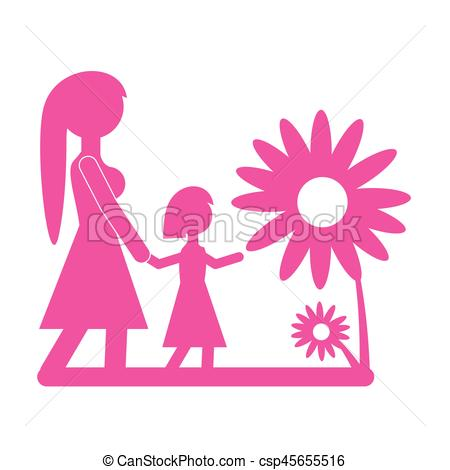 450x470 Mom Walking Daughter Beautiful Flower Vector Illustration