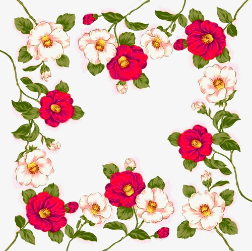 500x498 Beautiful Flowers Surrounded By A Border Free Buckle Material