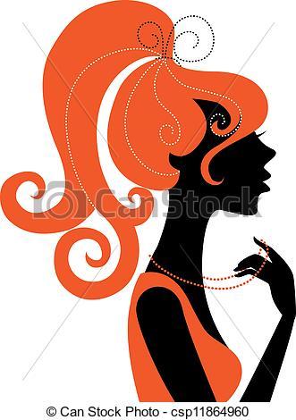 331x470 Beautiful Girl Silhouette Profile Clip Art Vector