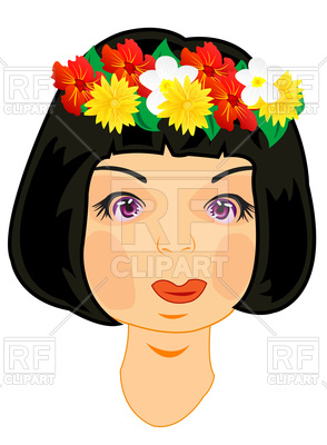 294x400 Beautiful Girl With Vein From Flowers On Head Royalty Free Vector