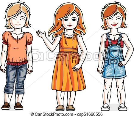 450x395 Beautiful little girls cute children standing wearing casual