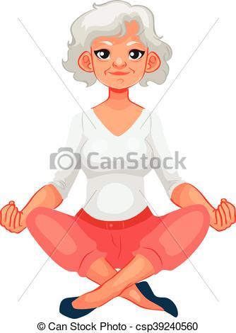 334x470 Beautiful Senior Woman In Various Poses Of Yoga, Cartoon Clip