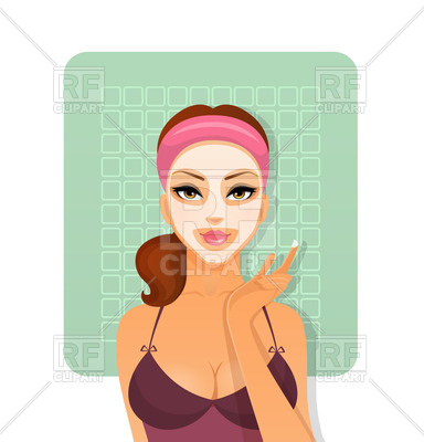 384x400 Beautiful Woman With Cosmetic Face Mask Royalty Free Vector Clip