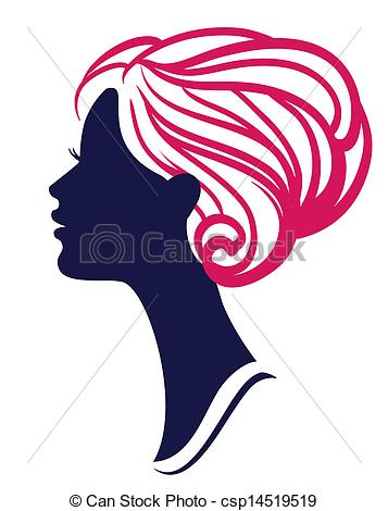 357x470 Beautiful Womanl Silhouette With Stylish Hairstyle Vector Clip Art