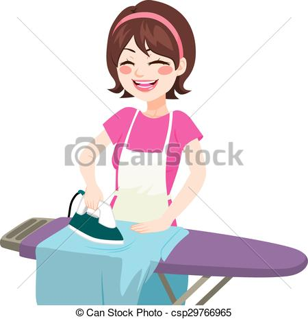 450x465 House woman ironing. Young beautiful happy woman smiling clip