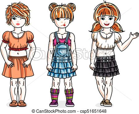 450x371 Pretty Little Girls Standing Wearing Casual Clothes. Vector Eps