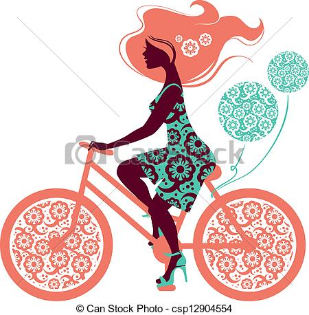 450x458 Silhouette Of Beautiful Girl On Bicycle Clipart Vector