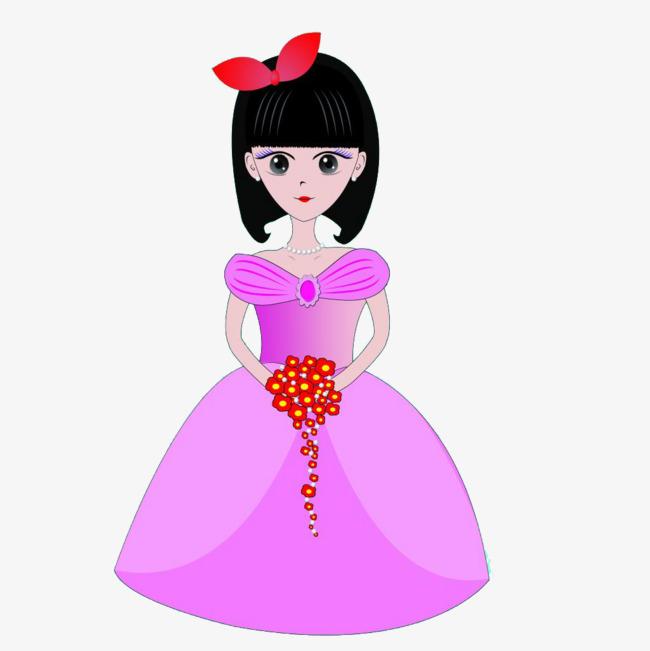 650x651 Beautiful Landlady, Pink Princess Dress, Bow, Big Red Flower Png
