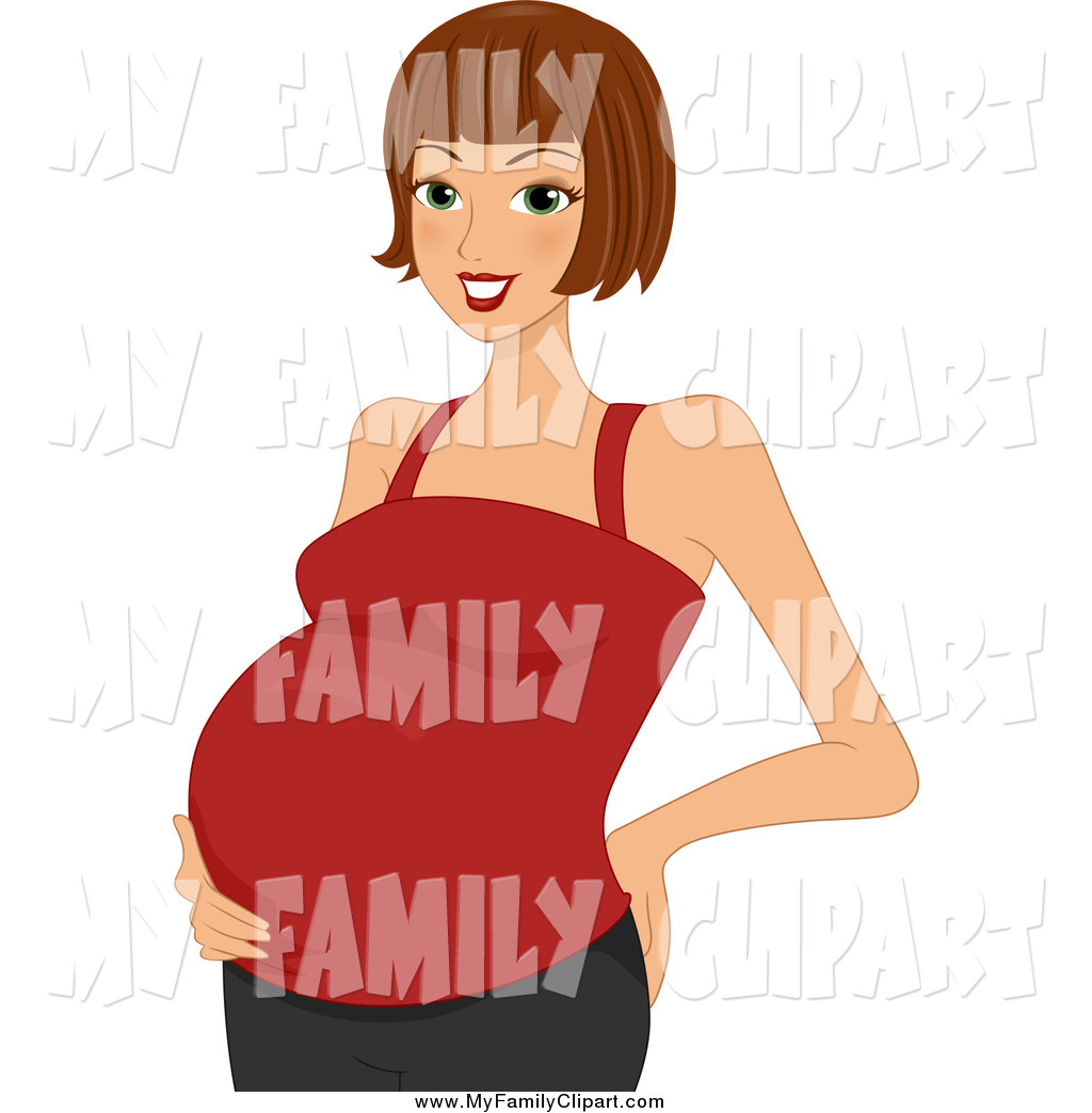1024x1044 Clip Art Of A Beautiful Brunette White Pregnant Woman In A Red