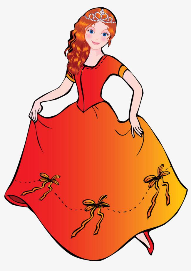 650x920 A Woman Carrying A Skirt, Princess, Beautiful, Cartoon Png Image