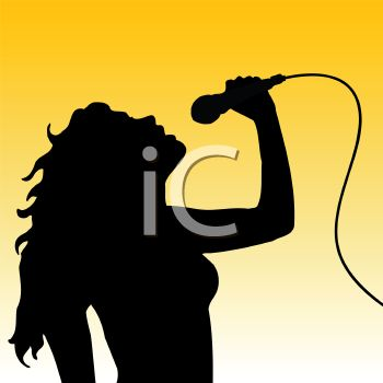 350x350 Silhouette Of A Young Beautiful Woman Singing