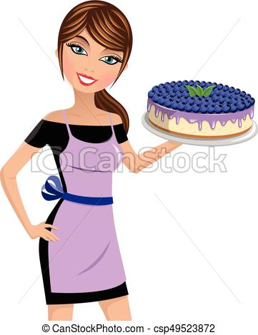 361x470 Woman Cook Cheesecake Blueberries Isolated. Beautiful Woman