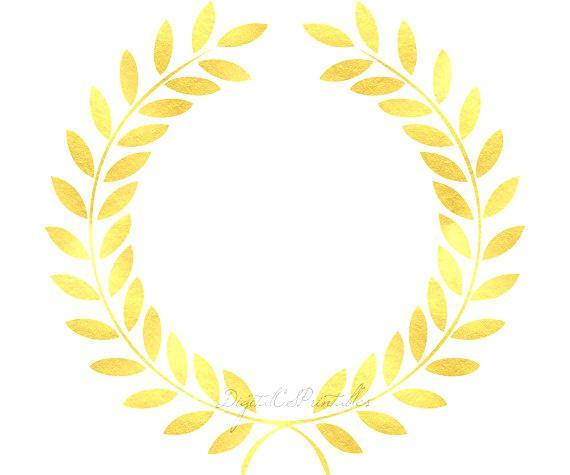 570x475 Gold Frame Clip Art Gold Laurel Gold Floral Frame Gold Foil Clip