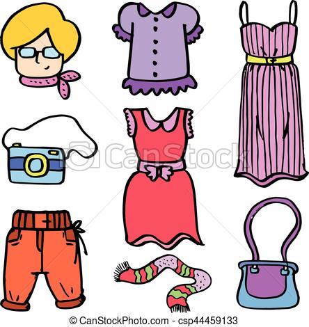 444x470 Beauty Fashion Object Women Of Doodles Vector Art Vectors