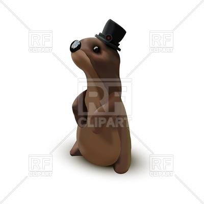 400x400 Cartoon Groundhog In Cylinder Hat