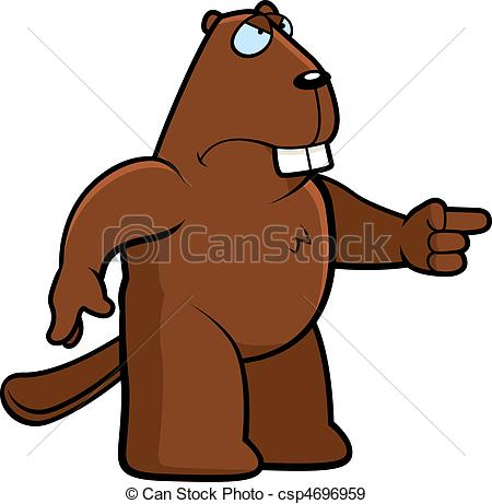 450x461 Angry Beaver. A Cartoon Beaver With An Angry Expression. Eps