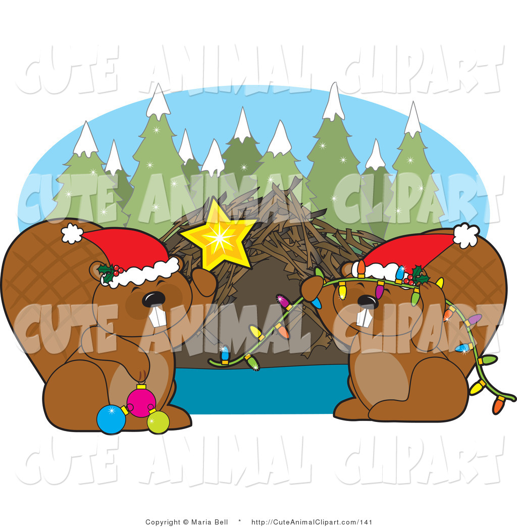 1024x1044 Vector Clip Art Of Christmas Beavers Decorating Their Dam By Maria