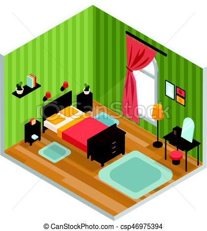 421x470 Bedroom Interior Concept With Bed Mirror And Carpet Eps Vectors
