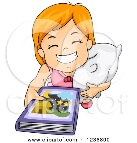 450x470 Cartoon Of A Happy Girl Hugging A Star On A Crescent Moon, Over