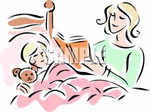 300x225 Clipart Image Mother Reading Bedtime Story To Child In Bed