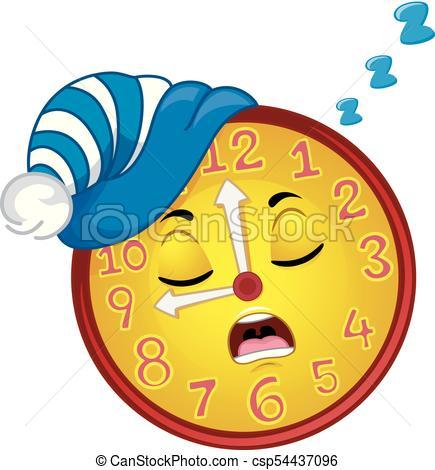 435x470 Clock Mascot Sleep Bedtime Illustration. Colorful Mascot Eps