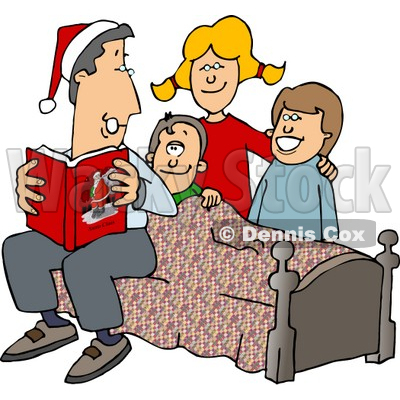 400x400 Father Reading A Bedtime Christmas Story To His Sons And Daughter