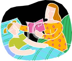 300x254 A Colorful Cartoon Of A Mother Reading A Bedtime Story To Her