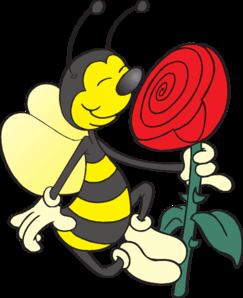 243x298 Bee Smelling Flower Clip Art