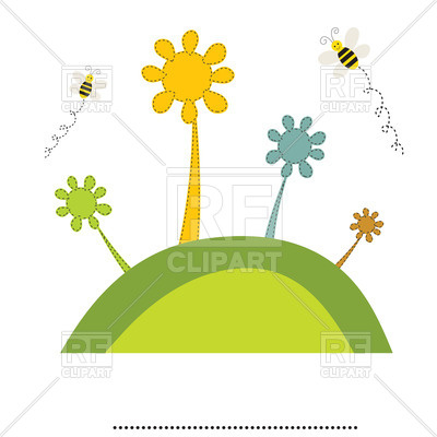 400x400 Childlike Bee And Flowers On Hill Royalty Free Vector Clip Art