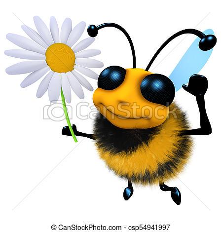 450x470 3d Funny Cartoon Honey Bee Character Holding A Daisy Flower