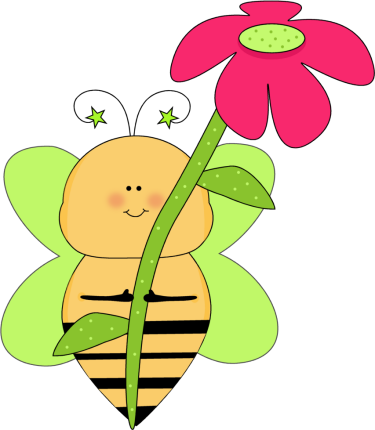 375x430 Flower Clip Art Green Star Bee With A Pink Flower Clip Art Image