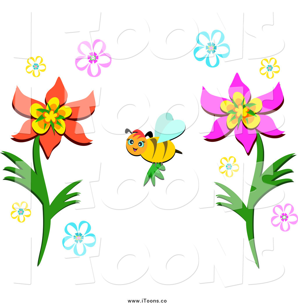 1024x1044 Vector Clip Art Of A Bee Pollinating Flowers By Bpearth