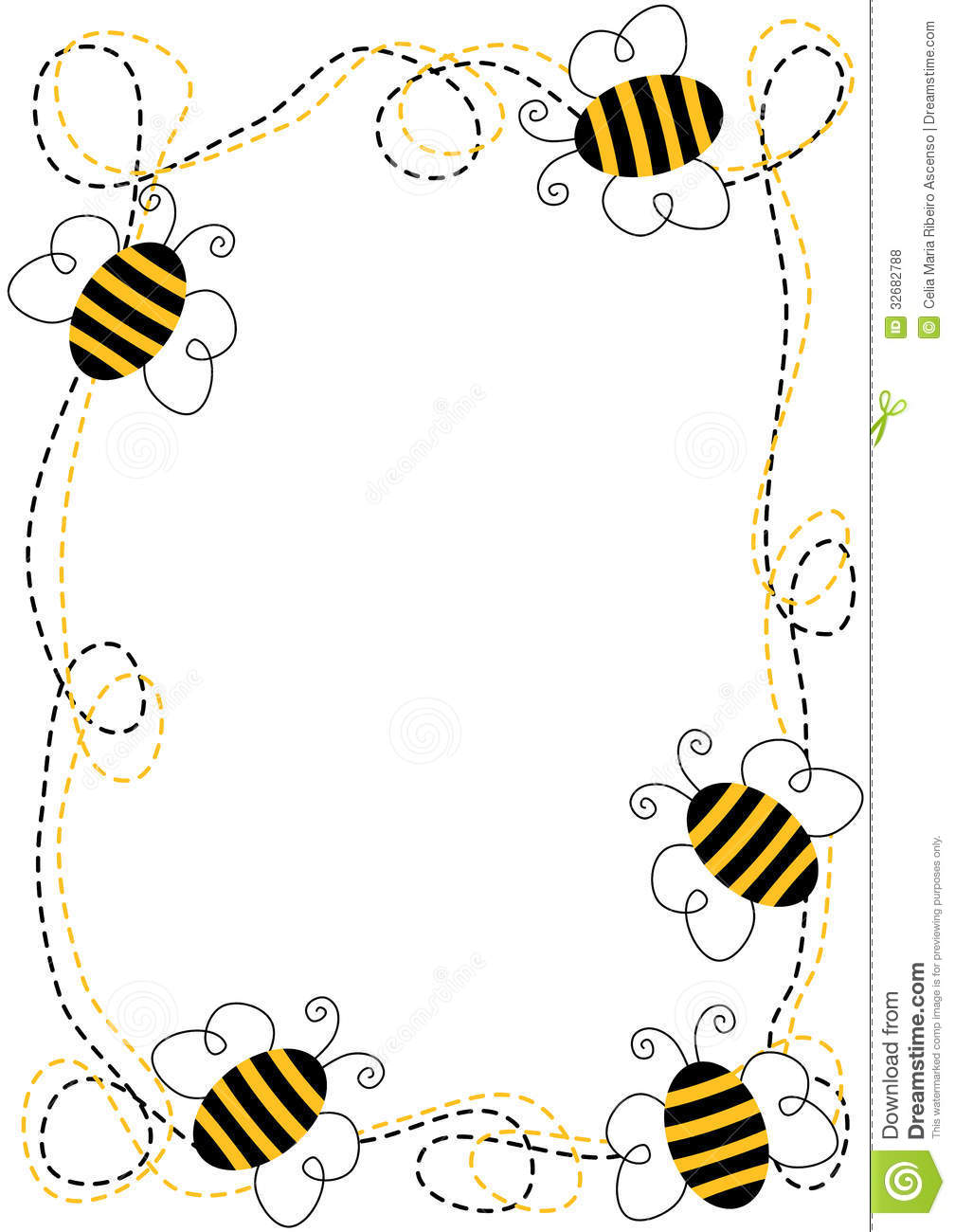1008x1300 Bumble Bee Border Clip Art